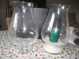TWO Glass Candle Hurricane Lamps
