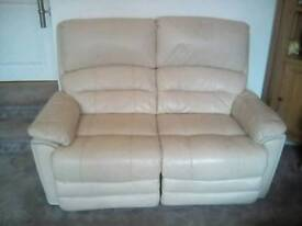 2 seater LEATHER electric reclining sofa