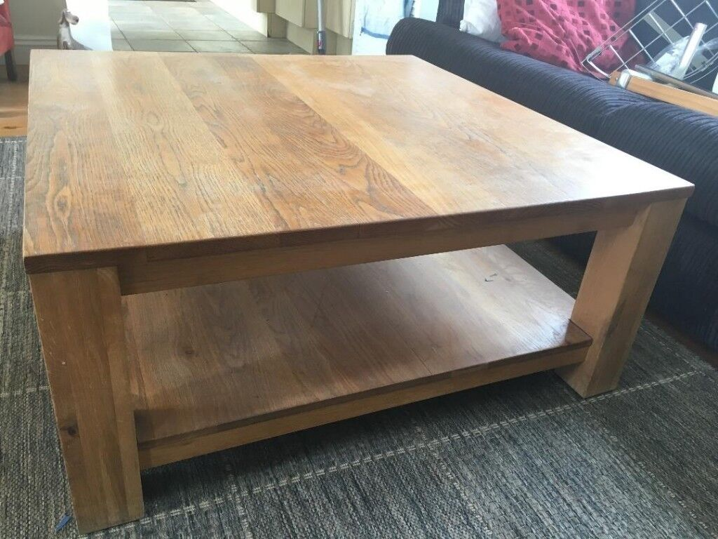 Solid Oak Large Square Coffee Table With Lower Shelf For Sale In