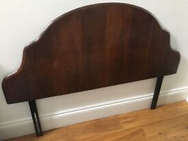 Vintage / antique dark oak wood headboard double bed