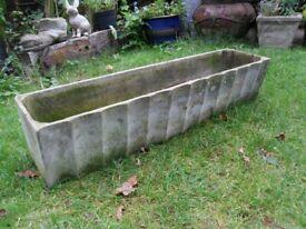 Long Garden Trough Planter Decorative Edge and Drainage Holes-Weighs 14kg
