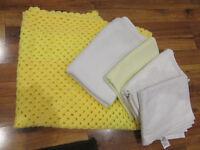 5 items baby throw/ blanket/ crib sheets