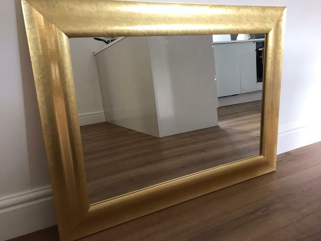 3e1f95826024 Large mirror with yellow gold colour frame