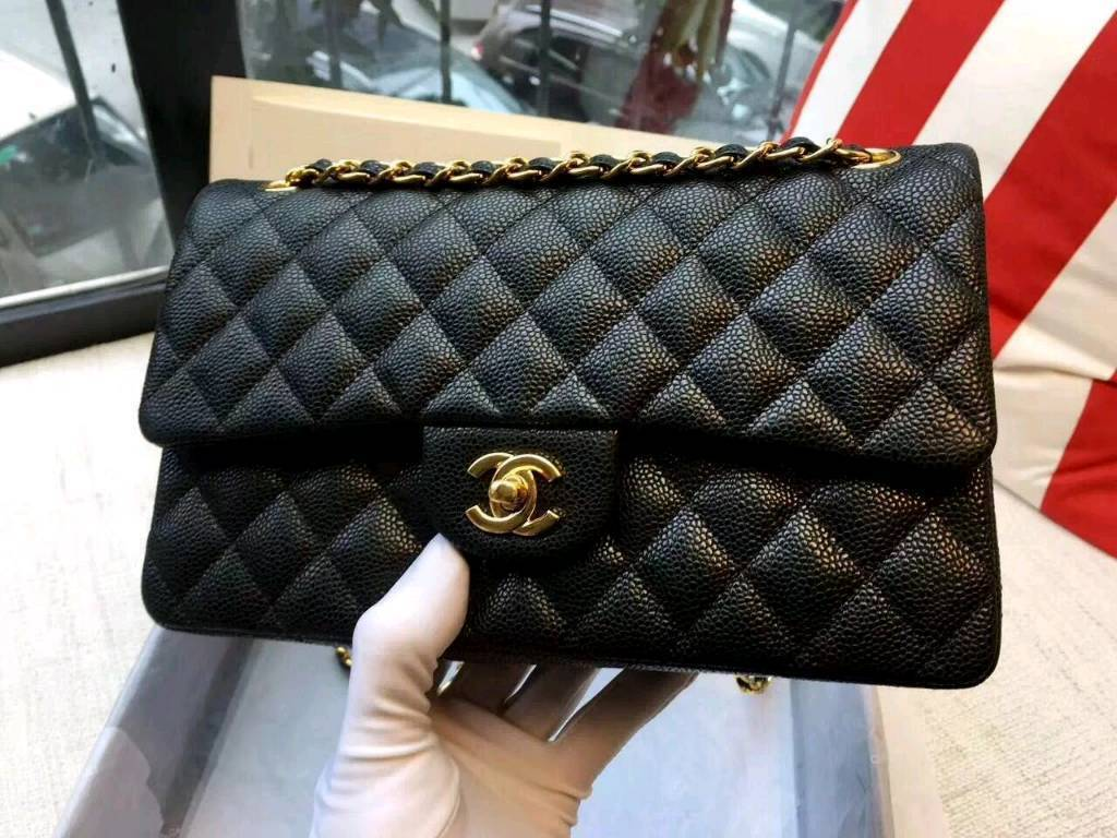 Chanel Caviar Classic Flap Bag Real Leather