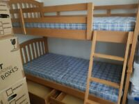 Solid Wood Bunk Bed with 2 Mattress and 2 Draws