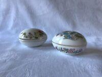 2 Wedgwood Bone China Egg Shaped Trinket Boxes
