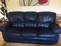 2 x blue 3 seater leather sofas