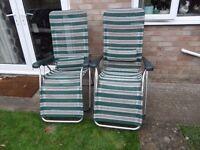 Pair of Reclining Lightweight Aluminium Camping Chairs