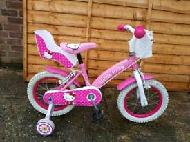 """Girls 14"""" wheel bike with stabilizers"""