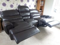 Leather reclining 3 and 2 seater sofa