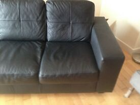 BLACK IKEA FEUX LEATHER SOFA 2 SEATER