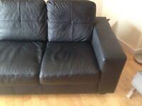 BLACK IKEA FEUX LEATHER SOFA 2 SEATER