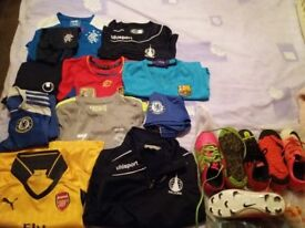 Childrens football strips and boots