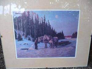 """Frank Panabaker """"Stopping By Woods"""" Vintage Print"""
