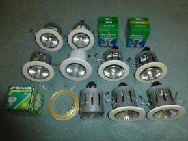 9 Used Recessed Halogen Ceiling Lights, Plus 3 Spare Lamps