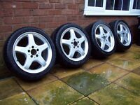 "GENUINE MERCEDES AMG 17"" ALLOYS - 5 SPOKE - 5X112 - VITO - VW T4 - GOLF MK5 MK6 - PLUS MORE"