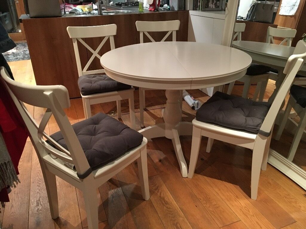 White Ingatorp Ikea Dining Table And 4 White Dining Chairs