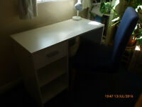 White writing desk and a chair for sale