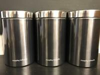 3 x New tin canisters - Murphy Richards