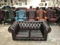 Stunning brown leather chesterfield 2 seater sofa UK delivery