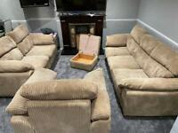 DFS beige jumbo cord 3&2 seater sofas with arm chair and ottoman footstool in very good condition