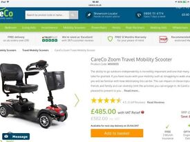 CareCo Zoom Mobility Scooter. Less than 6 months old