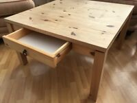 Pine coffee table with drawer.