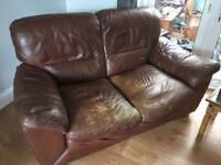 Sofa 2 chairs and foot rest FREE brown leather 3 piece suite