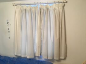 2 x White Curtains (lace detail) and curtain poles