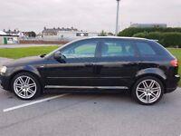 Audi A3 2.0 TDI S Line Sportback 5dr 140BHP NEW SHAPE BLACK 1 YEAR MOT FSH golf gt tdi fr m sport