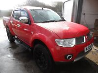 2010 MITSUBISHI L200 BARBARIAN RED , 101K , GLOSS BLACK ALLOYS , NO VAT , L200 DEALER