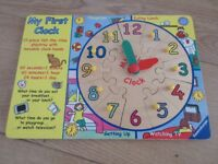 WOODEN CLOCK PUZZLE with moving hands & facts about the time