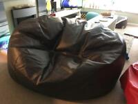 Brown bean bag XXL faux leather