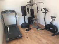 Treadmill, reebok cycle, punching stand & multi gym all for sale as a package or individual sale