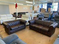 Chesterfield antique brown sofas