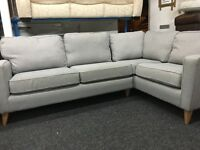 NEW / Ex Display DFS Grey Fabric Corner Sofa
