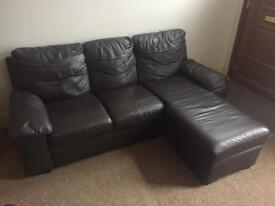 Faux leather chocolate brown settee sofa