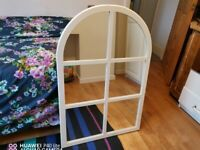 Attractive vintage window effect wall mirror, excellent condition, ready to hang