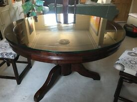 Substantial lacquered elm dining table and chairs