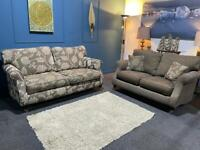 Parker knoll style mink brown fabric suite 3 seater sofa and 2 seater sofa