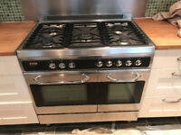 Baumatic - large range freestanding 5 hob gas cooker with 2 electric ovens.