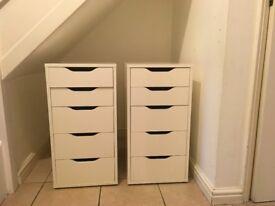 2 White IKEA Alex drawer units