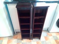 PAIR OF WOODEN CD STORAGE TOWERS