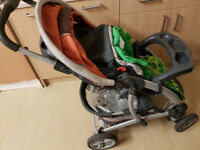 Graco pram with brand new graco car seat