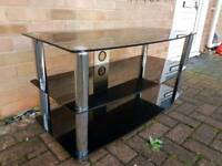 Black glass 3 tier tv unit