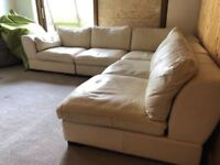 CREAM LEATHER CORNER SOFA - MUST GO ASAP - FREE DELIVERY SOME AREAS - £325