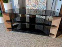 TV Stand for up to 55 inch TV - Black glass and oak effect