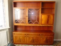 Teak Living Dining Room Sideboard with Wall Display Unit