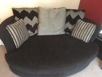 Large Black DFS Pair of Sofas
