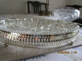 solid glass rose bowl and serving dish
